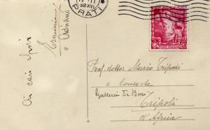 Nonno Erminio scrive a mamma e papà insieme a Adriano 1938